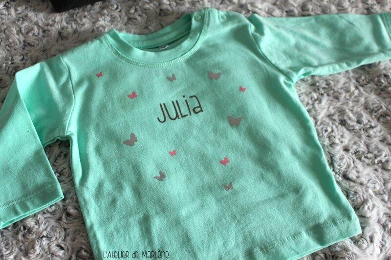 tee shirt bébé personnalisé prénom Julia