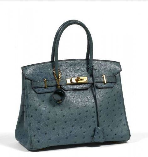 HERMES Paris made in france. Beau sac Birkin 30 cm en cuir autruche bleu  gris. Photo Artcurial 730090d438e