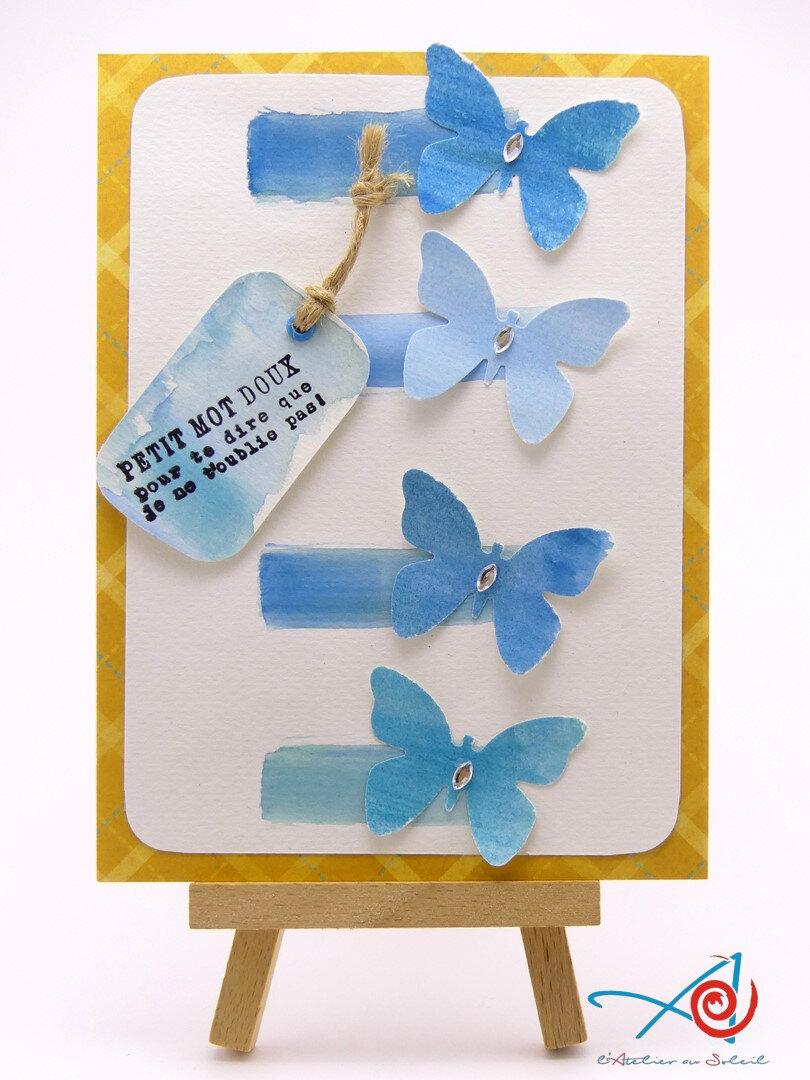 Carte aquarellée aux papillons - Watercoloured butterflies card