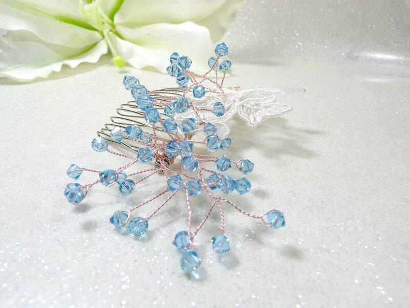 Peigne à cheveux dentelle de Calais cristal Swarovski ivoire bleu