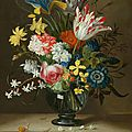 Jacob marrel, a flower bouquet in a glass vase, on a stone plinth, with a small snail