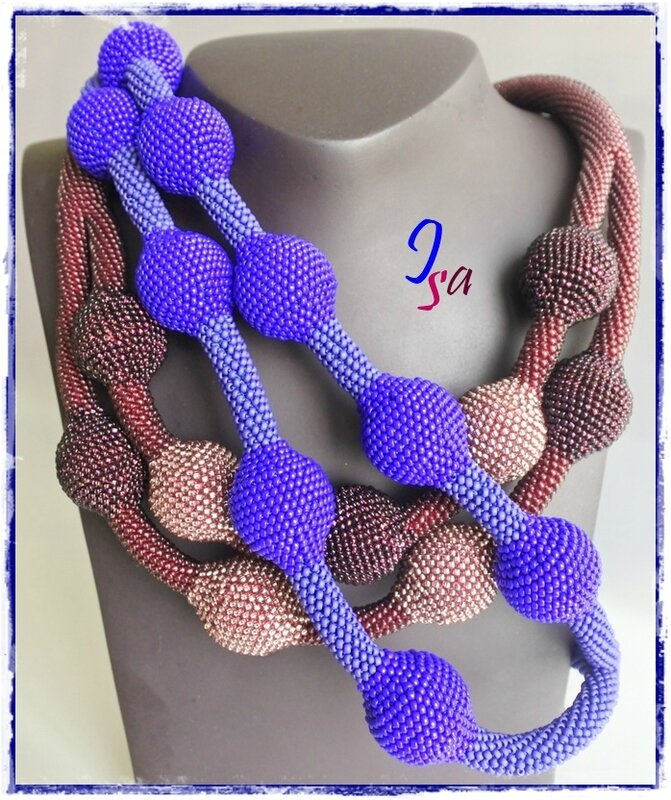 Colliers MS 'Ecumes 9' prune & indigo