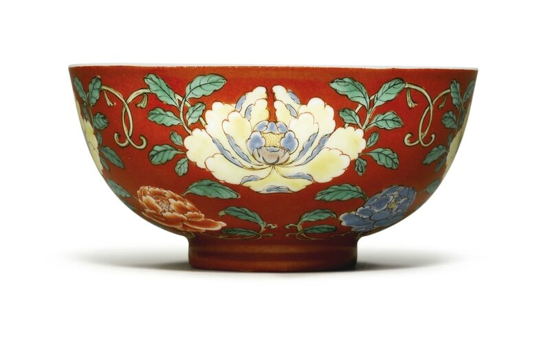 A Rare Coral Ground Famille-Verte Bowl, Yongzheng Mark and Period (1723-1735)