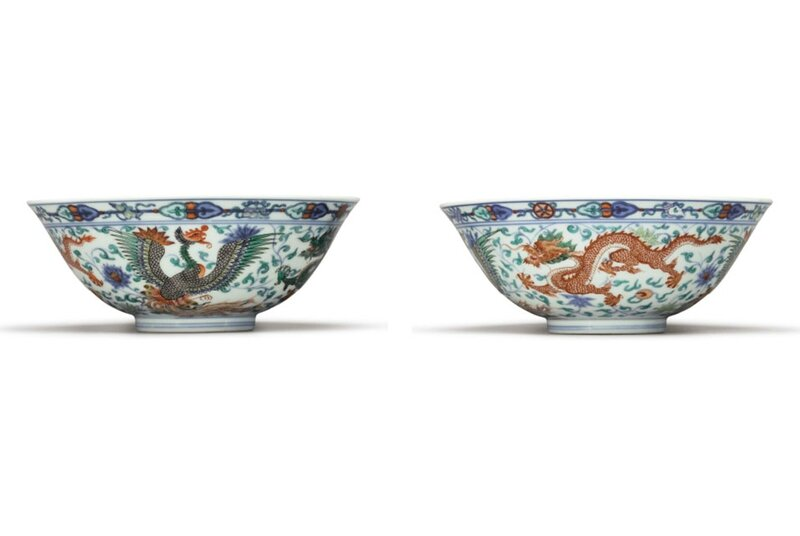 A Pair Of Rare Wucai And Doucai 'Dragon And Phoenix' Bowls, Yongzheng Marks And Period