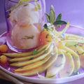 Glace à l'huile d'olive et carpaccio de melon au basilic