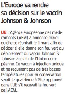 2021 03 03 SO L'Europe va rendre sa décision sur le vaccin Johnson et Johnson