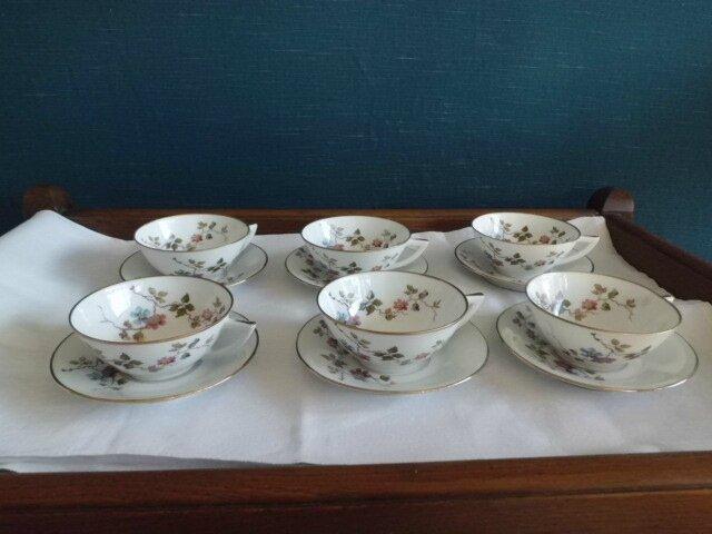 6 tasses th porcelaine de limoges union porcelaini re limoges uniques fin des ann es 30. Black Bedroom Furniture Sets. Home Design Ideas