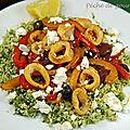 Calamars et chorizo, couscous à la grecque, d'après jamie oliver