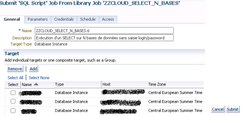 Canalblog DBA Oracle Cloud Control Select Via Un Job Avec Un Groupe De N Bases07