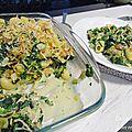 Gratin de pâtes au poulet et aux épinards