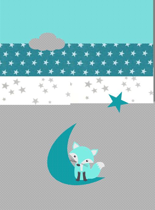 ok couverture naissance polaire renard étoile lune nuage émeraude lagon gris blanc