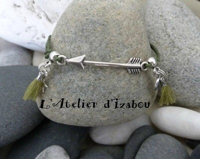 bracelet coton ciré kaki et flèche bordé de pompons assortis