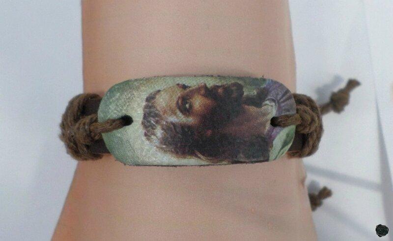 Bracelet Cuir Tressé Style Surfeur Visage Jésus Réglable Unisexe