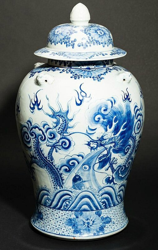Large covered vase with dragon and landscape, China for Vietnam, approx