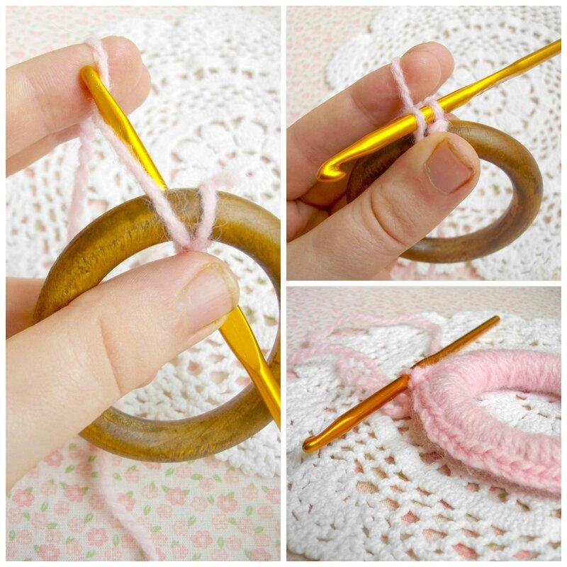 recycler-anneaux-rideaux-bois-laine-cadre-crochet-suspension-déco-rose-napperon-tour-recouvrir