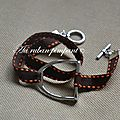 Bracelet 2 tours étrier ruban sellier orange et marron