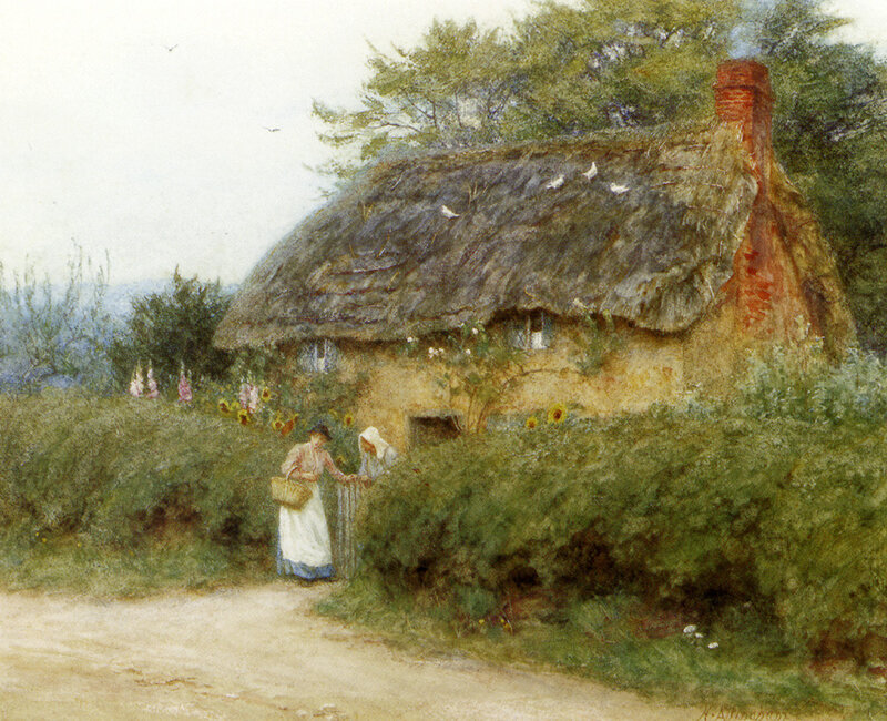 Allingham_Helen_A_Cottage_With_Sunflowers_At_Peaslake