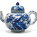 A large blue and white 'pheasant and peony' teapot, kangxi period (1662-1722)