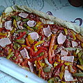 Tarte tomates, poivrons et jambon
