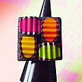 Bague Maxi multicolore croquée