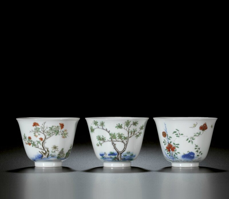 Three 'month cups', Marks and period of Kangxi