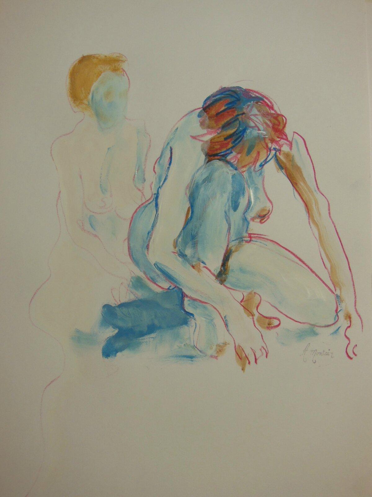 Peinture de nus feminin crayon gras et acrylique sur papier (5)