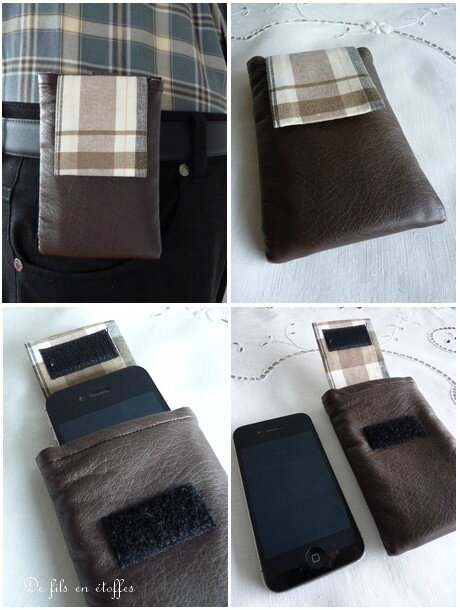 Etui I Phone simili cuir marron