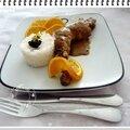 Poulet au vinaigre balsamique et crème accompagné de riz au jasmin et perles de vinaigre balsamique......