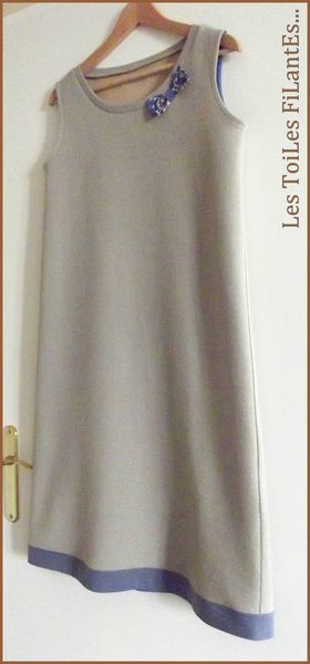 Robe jersey de laine taupe beige6