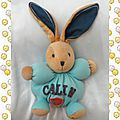 Doudou Peluche Lapin Patapouf Calin Bleu Orange Beige Ecusson Kaloo