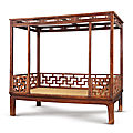 A fine and rare huanghuali six-poster canopy bed, jiazichuang, ming dynasty, 16th-17th century