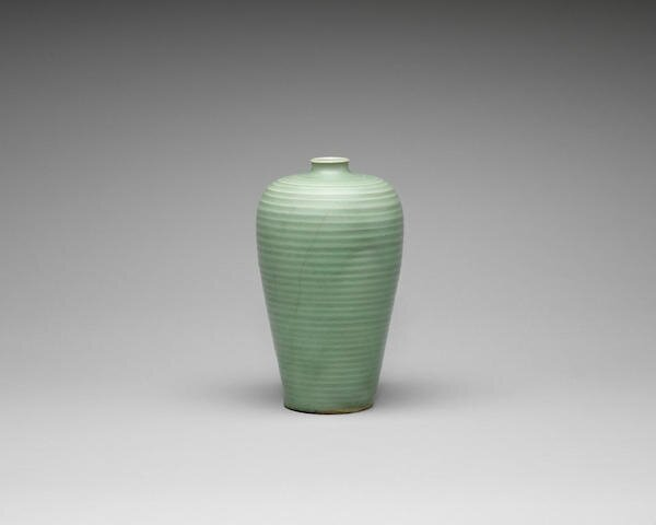 A fine Longquan celadon-glazed baluster vase, meiping, 13th century, Southern Song Dynasty