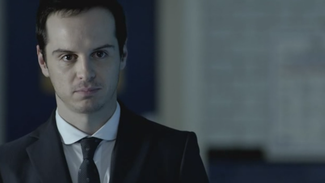 Andrew Scott as Jim Moriarty on Sherlock The Great Game