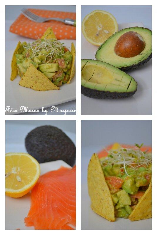 Avocat et saumon fumé aux épices et graines germées, chips de maïs