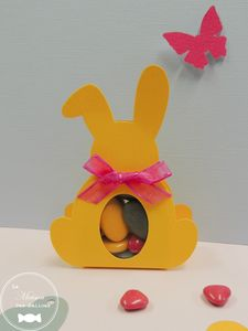 ballotin-lapin-sujet-bapteme-pochon-boite-dragees-amande-avola-chocolat-jaune-soleil-etiquette-papillon-coeur-fuchsia-gris