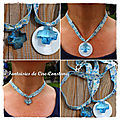 Colliers Swarovski bleu croix