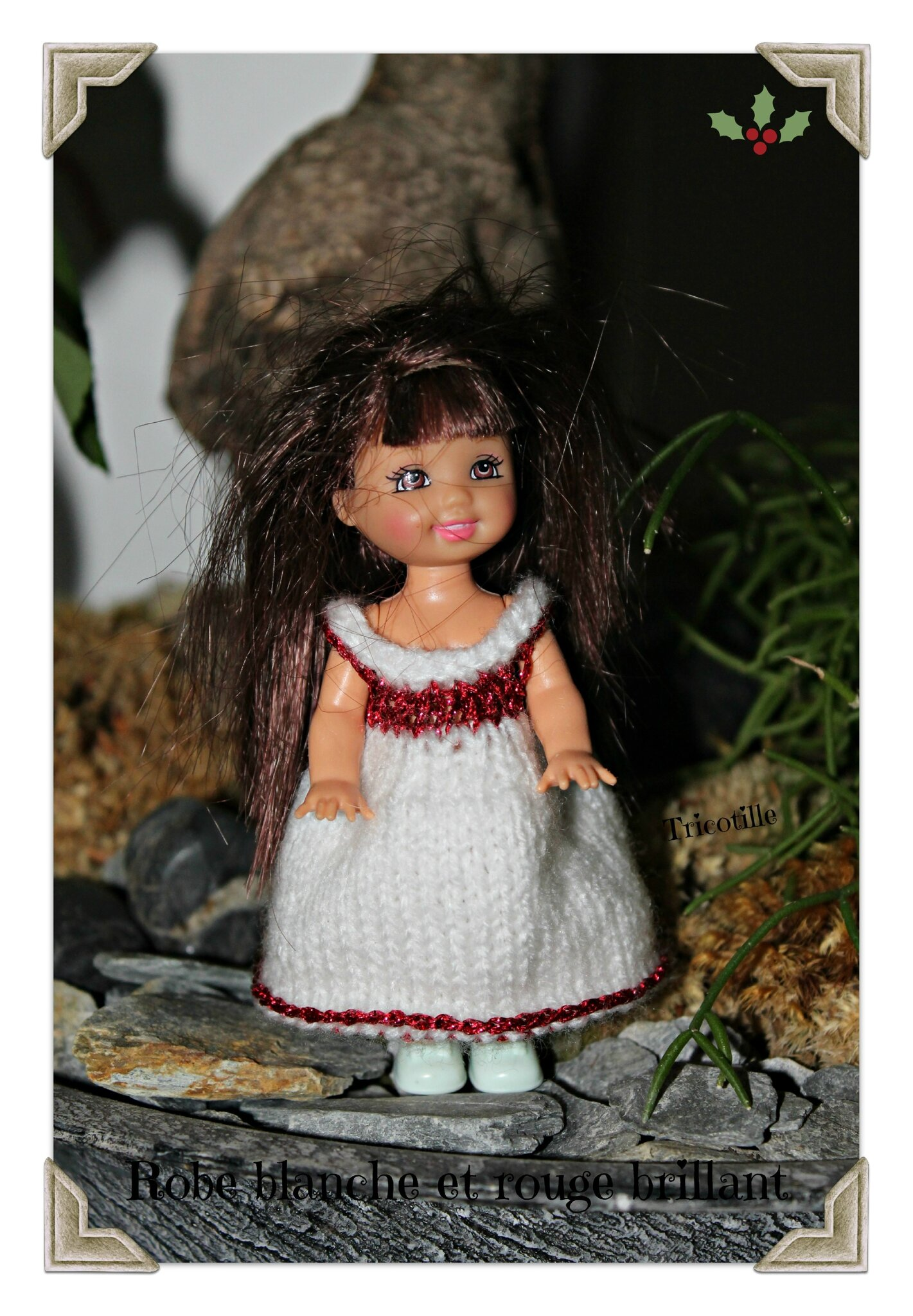 Robe blanche et rouge brillant (Shelly)