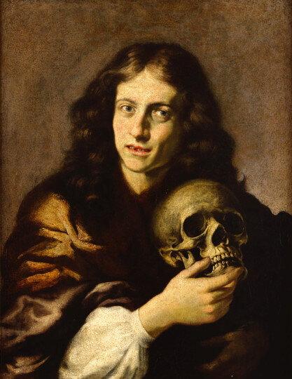 Vincenzo Dandini, Portrait d'homme au crâne, Huile sur toile 74 x 59 cm Musée de la Chartreuse – Douai © Douai, Musée de la Chartreuse