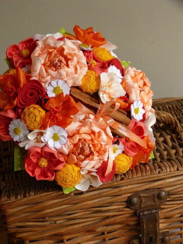 bouquet mariée tissus champêtre orange jaune (1)