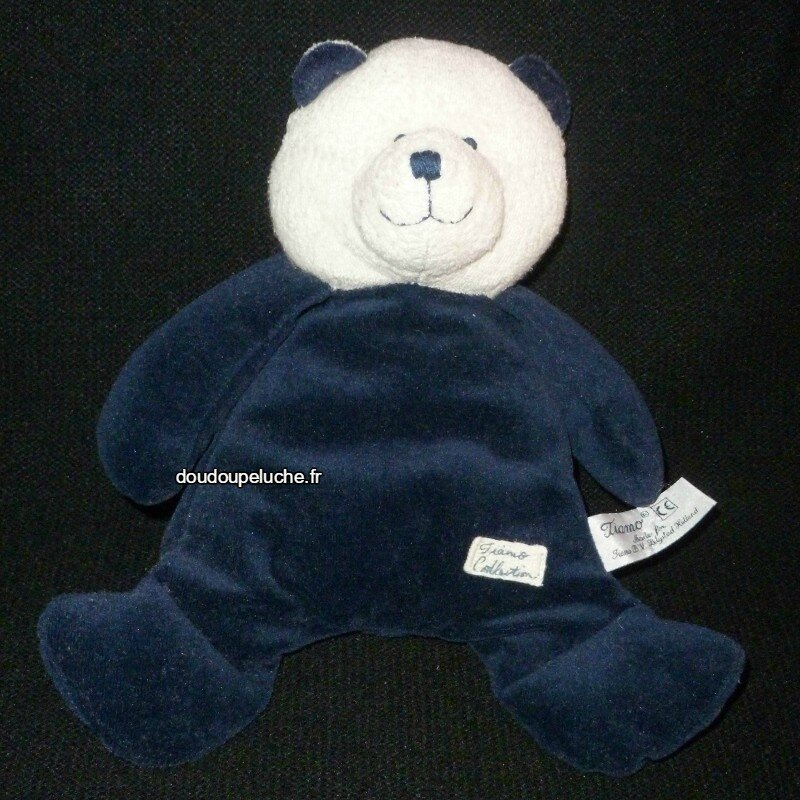 Doudou peluche ours bleu blanc Tiamo collection