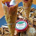 Miss tiny imagine un apéro sucré-salé/fondant-croustillant: cornets à la mousse de société crème, pistache et cerise