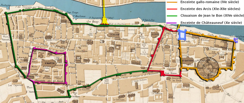 Plan de la ville de Tours aux diverses époques de son histoire par Eugène Giraudet - 1356 Clouaison de Jean le Bon zoom