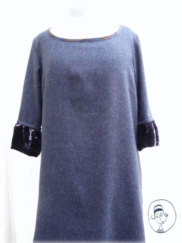 robe en cashemire et velours bleu nuit modèle 9 du livre otona no couture