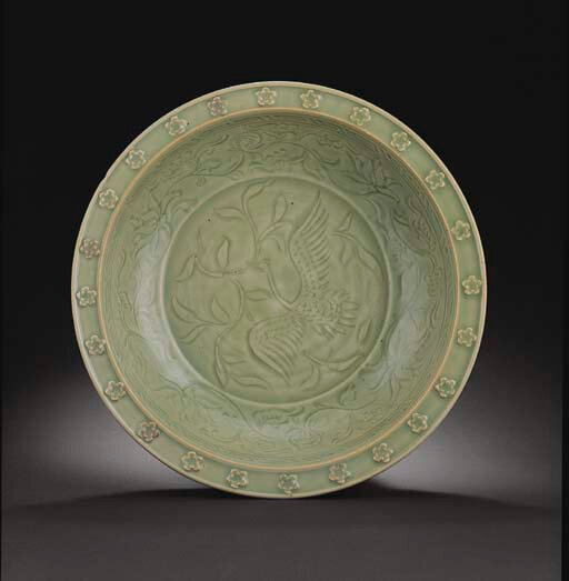 A very rare large carved Longquan celadon dish, Yuan dynasty, early 14th century