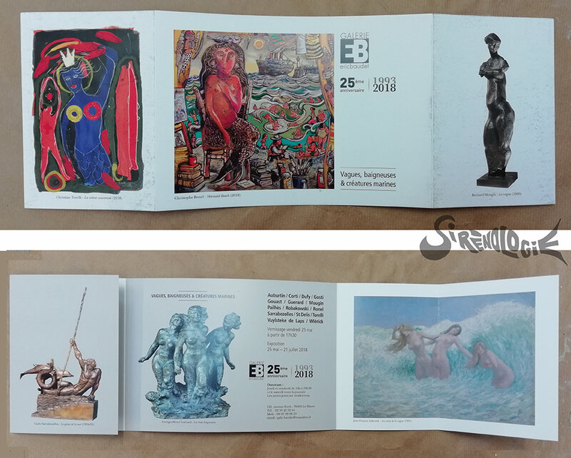 exposition né(e)s de l'écume et des rêves - flyer de l'exposition vagues baigneuses et créatures marines galerie Eric Baudet