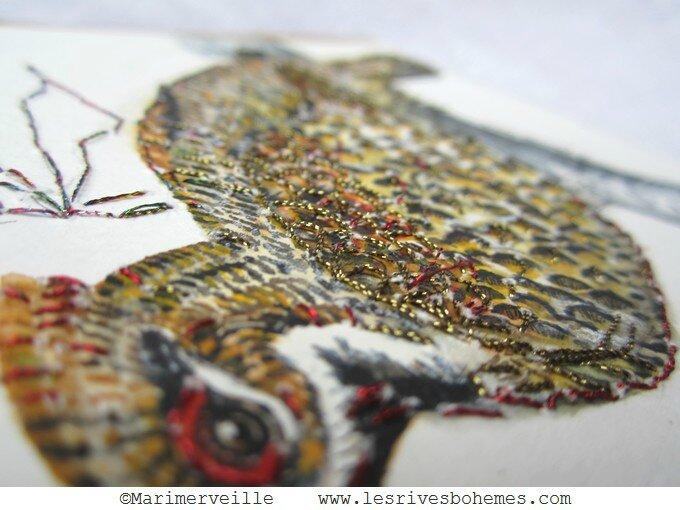 Marimerveille carte gélinotte brodée détail