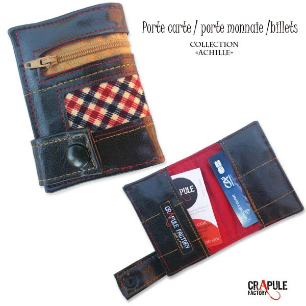 porte-carte-porte-monnaie-billets-zip-achille-original-marron velours carreaux 600 6005