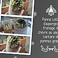 Panna cotta d'asperges, fromage de chèvre au saumon, tartare de pommes granny