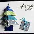 carte de Noel avec sapin en origami bleu gris et vert et cadeau