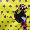 L'oiseau sur sa branche printanier zoom